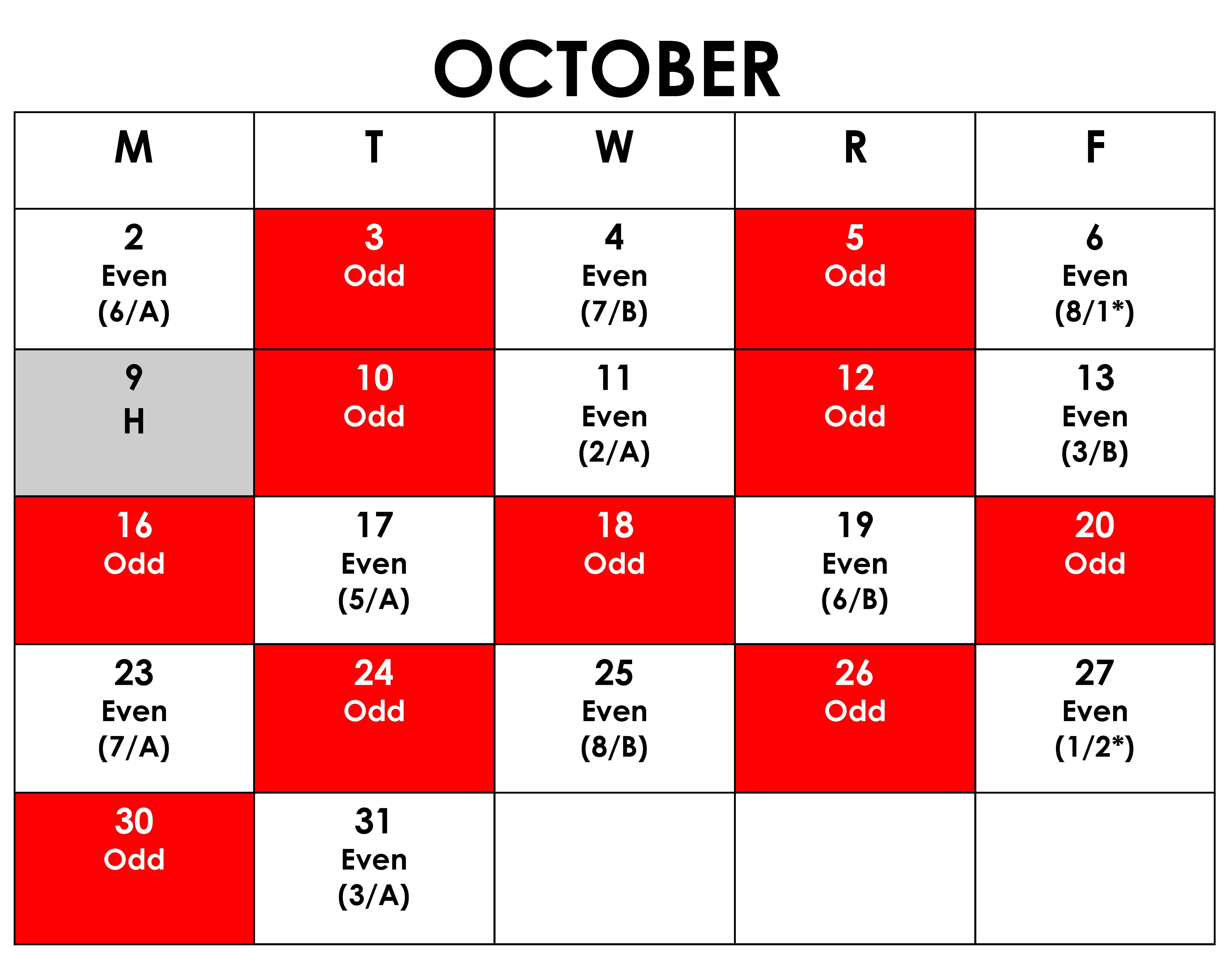 October calendar showing red and white days