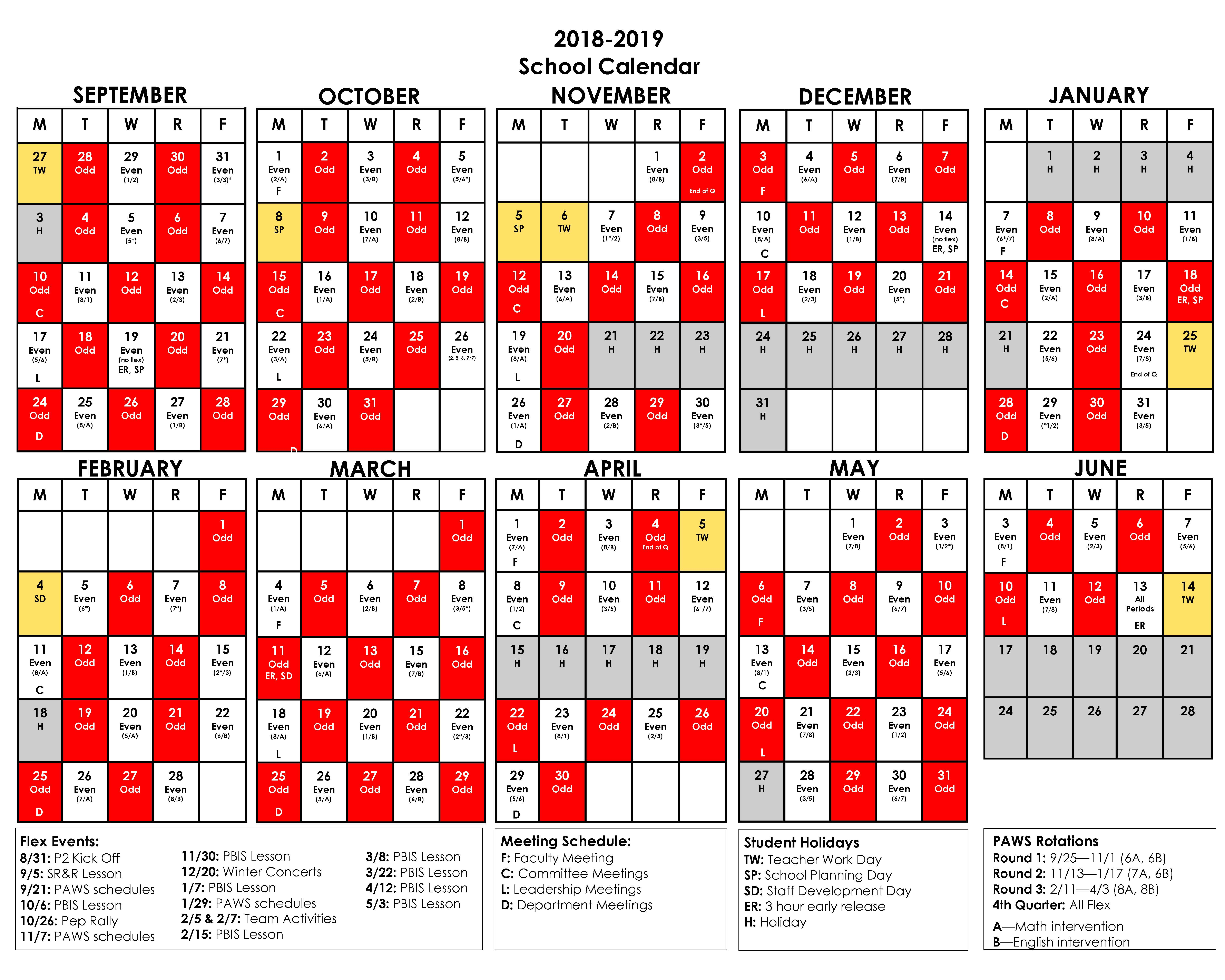 red/white calendar for 2018-19 school year