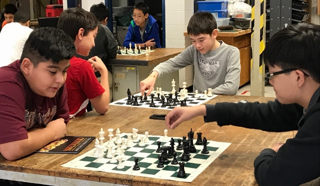 Jackson Middle School Students Playing Chess